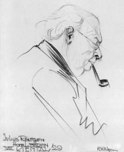 Julius Röntgen 1929, tekening van Frants Röntgen