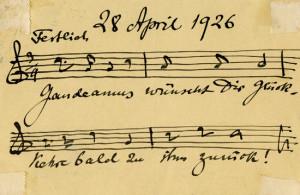 Briefkaart van Julius Röntgen aan zijn vriendin en vroegere pianoleerling Emmy Seelig naar aanleiding van haar bezoek aan Gaudeamus