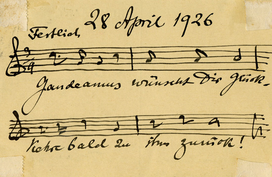 Postcard sent by Julius Röntgen to his friend and former piano student Emmy  Seelig in regards to her visit to Gaudeamus