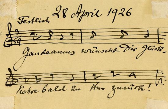 Postcard sent by Julius Röntgen to his friend and former piano student Emmy  Seelig in regards to her visit to Gaudeamus