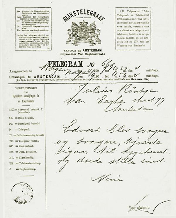 Telegram van Nina Grieg, 4 september 1907, na het overlijden van Edvard Grieg.