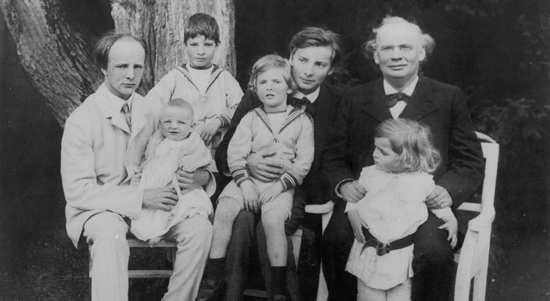 Julius Röntgen with his 6 sons